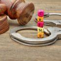 Judges Gavel, Soundboard,  Handcuffs and Sign CRIME on Grunge Wooden Table