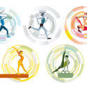 Five different Olympic sports on a circular background.